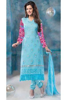 Exquisite Blue Pure Chiffon Resham Work Salwar Kameez