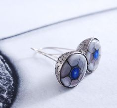 LES YEUX BLEUS  silver earrings by OYRZANOWSKA on Etsy