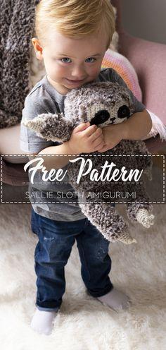 Sallie Sloth Amigurumi – Pattern Free – Easy Crochet for kids free pattern easy crochet How To Start Knitting, Knitting For Kids, Crochet For Kids, Easy Crochet, Crochet Baby, Free Crochet, Knit Crochet, Crochet Rope, Crochet Patterns Amigurumi