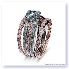MARK SILVERSTEIN Diamond Pave Set 18K - Rose Gold Womens Wedding bands 1016-18R-P #ArthursJewelers