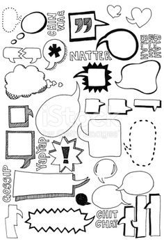 Hand drawn doodles of speech bubbles in all shapes and sizes