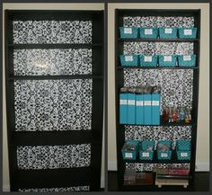 Omgosh! Easy bookcase makeover using gifts wrapping paper.