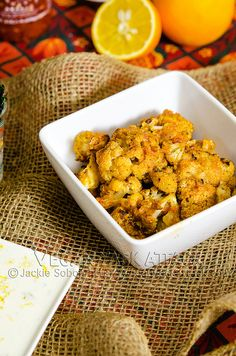 An intensely flavorful appetizer of baked Thai Curry Cauliflower with a creamy coconut lime aioli.