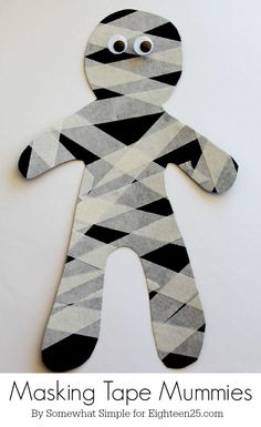 Masking Tape Mummy - fun little Halloween kids craft for parties!
