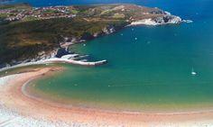 Vista aérea de la bahía de gorliz - plentzia