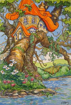 "Peinture ""Treehouse by the Water"" par Alida Akers (série Storybook Cottage)"
