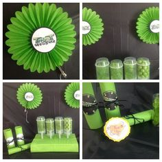 ninja turtle Party Decor- Mini Fans. $2.00, via Etsy. ***Robbin, not the ninja turtle theme, but I can make these pinwheels to hang up in any pattern/color you'd like.