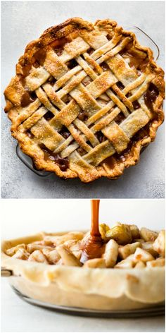 Sweet and succulent cinnamon pear pie with homemade caramel and a buttery pie crust! Recipe on sallysbakingaddiction.com