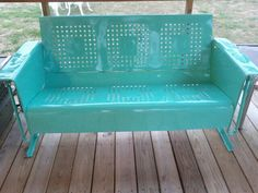Vintage glider, freshly refinished by husband. Vintage Outdoor Furniture, Outside Furniture, Lawn Furniture, Metal Furniture, Furniture Plans, Painted Furniture, Vintage Metal Glider, Vintage Porch, Vintage Chairs