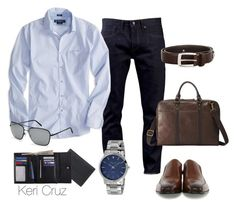 """World Traveler"" by keri-cruz ❤ liked on Polyvore featuring Levi's Made & Crafted, American Eagle Outfitters, Burberry, Kenneth Cole, Brighton, FOSSIL and Royce Leather"
