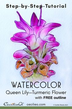 This watercolor lily tutorial is all about painting luminous petals, using white gouache for the effect. FREE line art with this free tutorial.