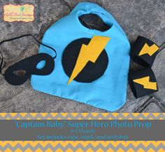 Captain Baby/ Baby Boy Super Hero Birthday Outfit/ Cake Smash/ Prop Set/ Blue/ Cape, Mask, Wristlets/ Custom Made to Order/ Photo Prop.