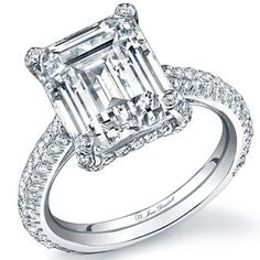 Brides Magazine: Classic Engagement Rings  18k white gold and diamond Maya engagement ring with emerald-cut center stone, $8,900 (without center stone), Jean Dousset