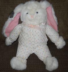 "1986 Mattel Plush Huggy Bunny Rabbit White Dot Sleeper Pajama 15"" NWT Emotions…"