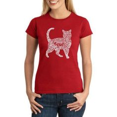 Los Angeles Pop Art Juniors' Animals Word Art Graphic Tee, Size: Medium, Red
