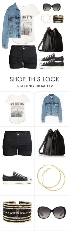 """Untitled #1145"" by gallant81 ❤ liked on Polyvore featuring MANGO, Zara, H&M, FOSSIL, Converse, Eloquii and Bulgari"