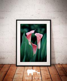 Calla Lily Print Botanical Art Green Tones Pink by deerxbear