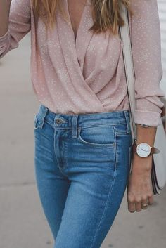 Just a pretty style | Latest fashion trends: Street style | Pastel pink fold blouse with high waisted jeans