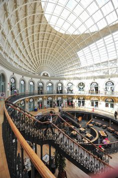 The fantastic roof of Leeds Corn Exchange, opened in 1863. The Victorians built it with the two roof lights to provide maximum lighting for the traders.