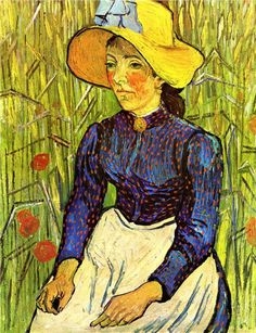 Young Peasant Girl in a Straw Hat sitting in front of a wheatfield, 1890 Vincent van Gogh