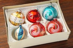 Vintage 50s-60s Box Of Mercury glass Christmas by SycamoreVintage