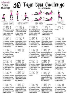 beautiful, tight legs: The Leg Challenge! - Fitness: Workouts & Motivation -For beautiful, tight legs: The Leg Challenge! 30 Day Leg Challenge, Month Workout Challenge, Workout Schedule, Crunches Challenge, Plank Challenge, Workout Tips, Workout Plans, Workout Routines, Fitness Workouts