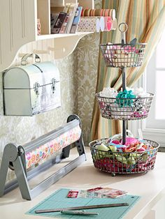 love this! I bought a metal tiered basket like this from Costco for my bathroom, didn't work out and was going to return it...Not now, it's going in my scrap room/office : )