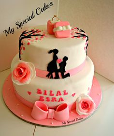 Cherry Blossom Themed Engagement Cake