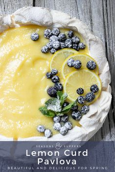 Lemon Curd Pavlova April 2019 by A wonderful dessert any time, but especially nice at Easter! This Lemon Curd Pavlova has a marshmallow cen Meringue Desserts, Lemon Desserts, Köstliche Desserts, Delicious Desserts, Plated Desserts, Meringue Food, Lemon Curd Dessert, Pavlova Toppings, Raspberry Recipes