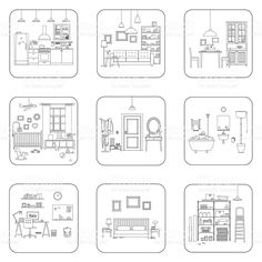Set of line interior rooms. Interior Architecture Drawing, Interior Design Sketches, Bullet Journal Month, Bullet Journal Ideas Pages, House Colouring Pages, Coloring Books, Easy Pixel Art, Free Adult Coloring, Art Optical