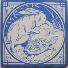 Brilliant aesthetic movement transfer tile in bright sky blue on a white clay body from the Aesop's Fables series by Mintons China Works. The designs for this series are attributed to Thomas Allen. Here...