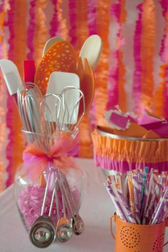 Baking Party ~ use all hot pink and orange foods, candy, desserts, ribbon to dress up the dessert table. Styled and designed by BellaGrey Designs