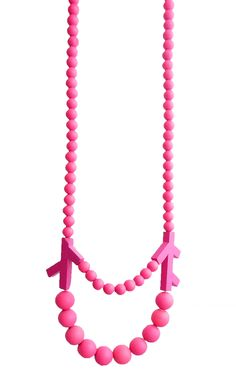 Katja Sobol pink one. Necklace   wood  