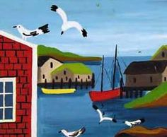Maud Lewis available artwork, past sales and appraisal information at Mayberry Fine Art in Toronto and Winnipeg. Canadian Painters, Canadian Artists, Maudie Lewis, Naive Art, Illustration Art, Illustrations, Nova Scotia, Elementary Art, Cool Artwork