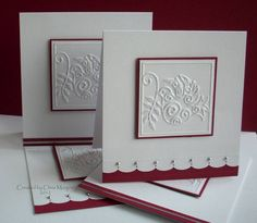 handmade Christmas card: Peace Dove by ceedee ... elegant look with burgundy and lots of white space .. embossing folder peace dove as focal point ... sparkles from Stickles ... luv the simple scallop border thw silver half pearls ... luv it!! ...
