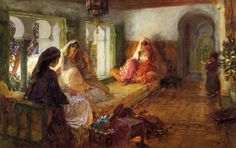 Frederick Arthur Bridgman (American Painter , 1847-1928) – The nubian storyteller in the harem.
