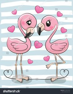 Two Cartoon Flamingos on a blue background. Two Cute Cartoon Flamingos on a blue background stock illustration Baby Animal Drawings, Cute Cartoon Drawings, Cute Cartoon Animals, Easy Drawings, Kawaii Drawings, How To Draw Flamingo, Flamingo Art, Flamingo Wallpaper, Disney Wallpaper