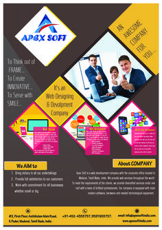 http://apexsoftindia.com/  Apex Soft is a Web development company in madurai with the corporate office located Tamil Nadu, India. We provide web services throughout the world. To meet the requirements of the clients, we provide diversified services under one roof with a team of brilliant professionals. Our company is equipped with most modern software, hardware and needed technological equipment.