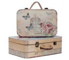 for more romantic journey Decoupage Suitcase, Decoupage Vintage, Shabby Vintage, Painted Suitcase, Vintage Suitcases, Vintage Luggage, Diy Storage Boxes, Foto Transfer, Vintage Butterfly