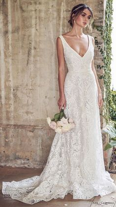 Anna Campbell 2019 Bride Sleeveless V-Neck Full Ornament Elegant Romantic . - To the wedding - Anna Campbell 2019 Bride Sleeveless V-neckline Full Embellishment Elegant Romantic … - Bridal Collection, Dress Collection, Applique Wedding Dress, V Neck Wedding Dress, Simple Lace Wedding Dress, Lace Wedding Gowns, Wedding Dress Straps, Romantic Wedding Dresses, Backless Wedding Dresses