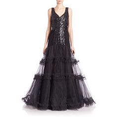 Oscar de la Renta Women's Embellished Tulle Gown (42,390 MXN) ❤ liked on Polyvore featuring dresses, gowns, oscar de la renta, black, v neck gown, v neck evening gown, embellished evening gowns, oscar de la renta evening gowns and embellished dress