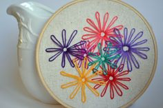 Hand Embroidery Hoop Art Colorful Daisies Wall by atticusandcole, $30.00
