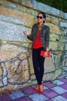 camo outfit and red accents