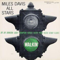 "Miles Davis: Walkin Label: Prestige 7076 12"" LP 1956 Design: Tom Hannan"