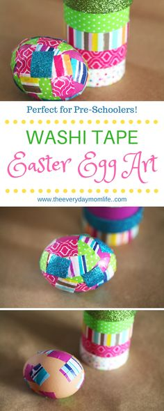 Easy Washi Tape Easter Eggs Even The Little Bunnies Can Enjoy! This Easter egg art is perfect for preschoolers or young elementary schoolers. Have fun seeing how many different patterns you can make!