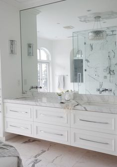 full wall mirror with floating vanity - The Cross Decor & Design - bathrooms - marble bathroom, white marble bathroom, master bathroom, frameless bathroom mirror, faucets on mirror. Bathroom Renos, Bathroom Flooring, Bathroom Interior, Bathroom Wall, Bathroom Lighting, Vanity Bathroom, Light Bathroom, Bathroom Modern, Marble Interior