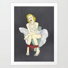 Famous in Bathroom - Marylin Moroe Art Print by Sarah Kamada - $20.00