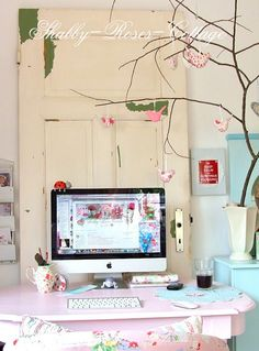 In my craft space...  Where I blog...  I love the old shabby door :o)