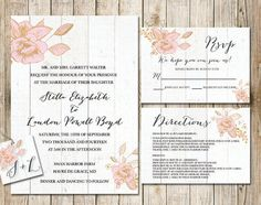 Rustic Burlap Wedding Printable Invitation Package - Paper Goods, Country Vintage Wedding, Gold Foil Digital Printable Invitation Print by SouthernSpruce
