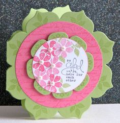 handmade flower shaped card ... Floralt Framlits for shapes ... Daydream Medadllions & flowers stamps ... luv the colors ... green card base ... hot pink circle ... Stampin' Up!